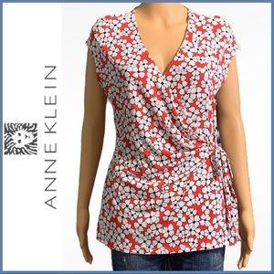 Anne Klein Flowered Wrap-Waist Blouse EUC